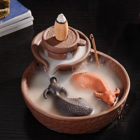 Lucky 2 Cattles Clay Smoke BackFlow Incense Burner for Sticks or Cone