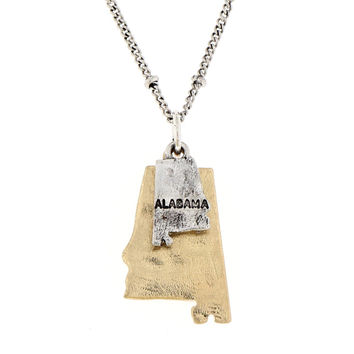 Alabama State Theme 2-Tone Map Charm Necklace