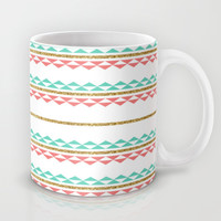 Mint Coral Gold Glitter Tiny Triangle Stripes Mug by Doucette Designs