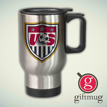 US Soccer Logo 14oz Stainless Steel Travel Mug