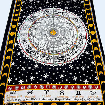 Astrology Horoscope Zodiac Tapestry, Hippie Tapestry Wall Hanging, Cotton Bedspread Bed Sheet Cover, Boho Bohemian Wall Hanging Wall Decor