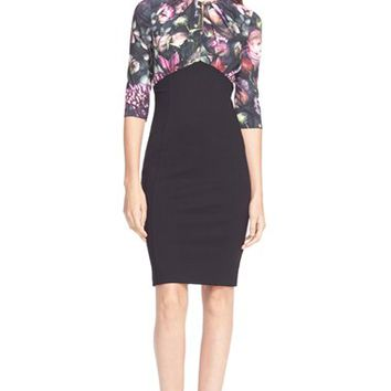 Women's Ted Baker London 'Hounest' Floral Print Gathered Top Dress,