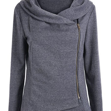Gray Long Sleeve Side Zippered Sweatshirt