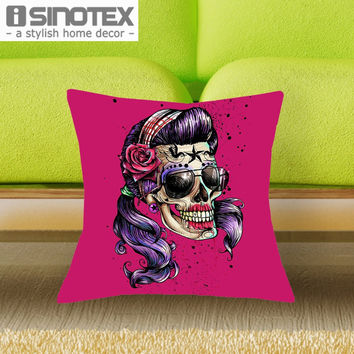 43*43cm Steam Punk Color Suger Skulls Cushions Linen Cushion Cover The Sexy Undead Throw Pillow For Living Bed Room 1 Pcs