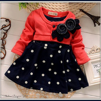 Baby Girl Toddler Crimson Polka Dot Dress and Cardigan