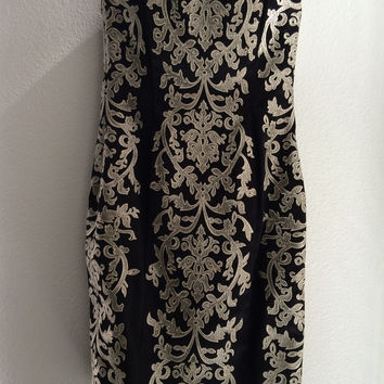 Black And Gold Embroidered Dress (White House Black Market)
