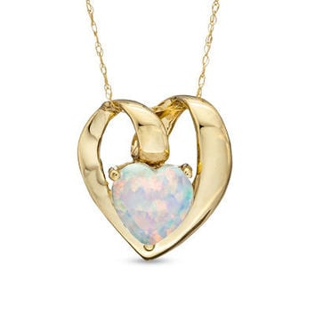 7.0mm Heart-Shaped Simulated Opal Pendant in 10K Gold - Clearance - Zales