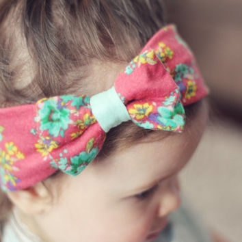 Floral Head Wrap - Mint, Coral, Green, Yellow Stretch Knit Head Wrap with Bow