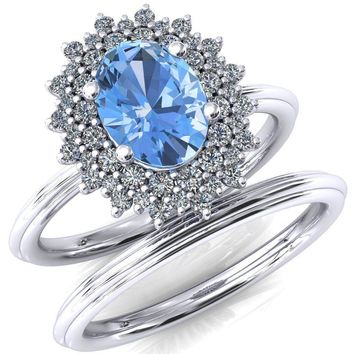 Eridanus Oval Aqua Blue Spinel Cluster Diamond Halo Wedding Ring