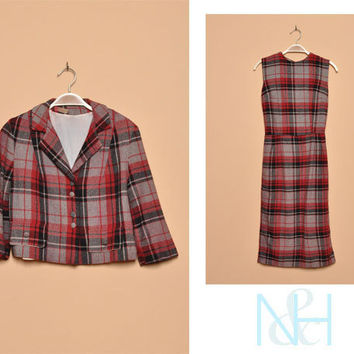 Vintage 1950s Plaid Two-Piece Retro Dress Set with Matching Jacket