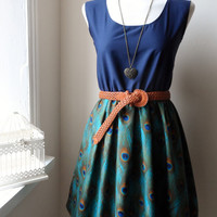 Jennifer Lilly Handmade Beautiful Turquoise Peacock Navy Blue Contrast Dress // Boho Vintage Kitsch Whimsical Cute Dress (XS,S,M,L,XL)