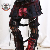 Gothic Punk Metallic Buckle Strap Suspender Pants Leg Warmer Utility Kilt Hip Skirt Wrap