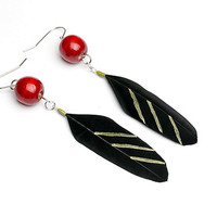 Red beads earrings Black feather earrings Black jewelry Black earrings Eco jewelry Red dangle earrings Bright red Long dangle earrings Gift
