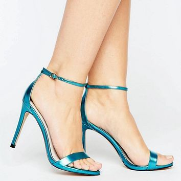 Steve Madden Stecy Metallic Blue Barely There Heeled Sandals at asos.com