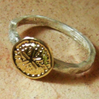 sterling silver solid gold sand-dollar ring, hammered matte finish, stacking