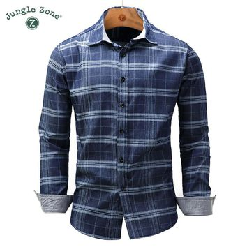 Men's European Plaid Men's lapel shirt Denim style shirt - Free Shipping