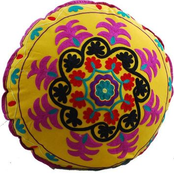 Yoga Meditation Bohemian Yellow Pouf Floor Boho Pillow