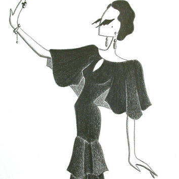 The Velvet Dress / original illustration / 1930s evening gown / pencil drawing / art gift