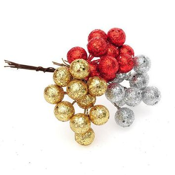 10Pcs/lot Christmas Tree Hanging Baubles Fruit Ball Event Party Ornament Red Sliver Gold christmas decorations for home new year