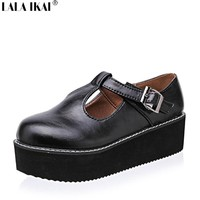 Women Flats Creepers T-Straps Buckle Round Toe High Shoes
