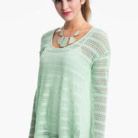 Lush Pointelle & Chiffon Top (Juniors) | Nordstrom