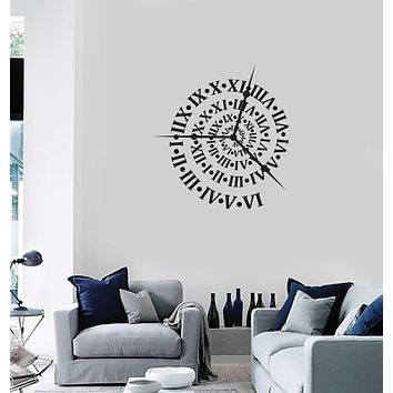 Vinyl Wall Decal Clock Roman Numerals Home Interior Decor Art Stickers Mural (ig5886)