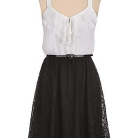 Belted lace skirt ruffle top Dress