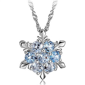 TOPBRIGHT® Fashion Jewelry Blue Crystal Snowflake Frozen Flower Silver Necklace Pendants