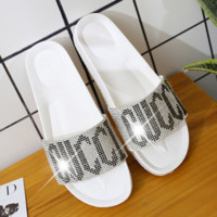 GUCCI New fashion letter more diamond slippers women shoes White