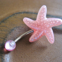 Pearl Pink Starfish Belly Button Ring Navel Jewelry Piercing Star Fish Stud Bar Barbell Bellyring