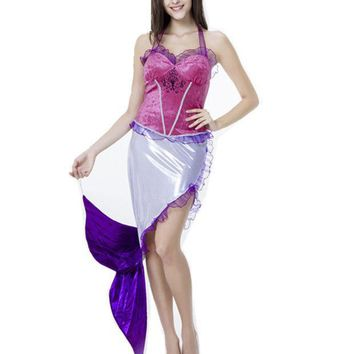 PEAPUNT Sexy Purple Mermaid Role Play Dress Halloween Mermaid Princess Sleeveless Cosplay Costumes Fairy Tale Fancy Dress H159265