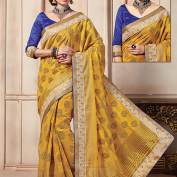 Attractive Looking Art Silk Yellow Ethnic Saree Womens