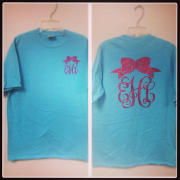 Glitter Monogram SHORT SLEEVE Comfort Colors tshirt.