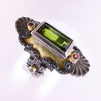 Green Tourmaline and Red and Black Diamond Medieval Ring in 18ct Gold and Blackened Silver