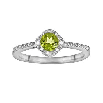 Sterling Silver Peridot & Diamond Accent Frame Ring (Green)