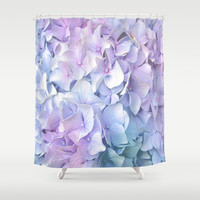 Soft Pastel Hydrangea Shower Curtain by Judy Palkimas