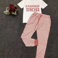 """DIOR"" Woman's Leisure  Fashion Letter Drill Printing  Short Sleeve Trousers Two-Piece Set"