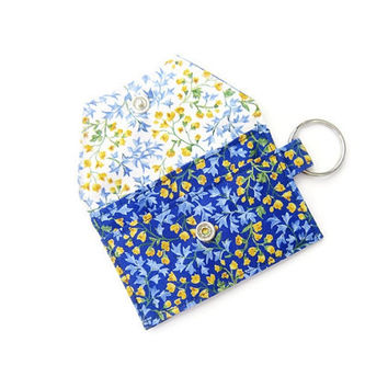 Mini key chain wallet/ simple ID Key chain pouch / keychain coin purse / Business card holder / Deep blue and yellow floral pattern