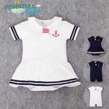 Baby clothes in the summer of 2018 with navy wind climb clothes skirt jumpsuits anchor fresh baby bag hip clothing