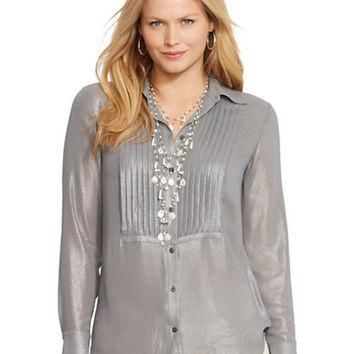 Lauren Ralph Lauren Plus Pintucked Metallic Blouse