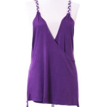 SC11006C Sexy Strap Peasant Blouse Cross Back V-Neck Tank Tops