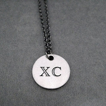 XC Round Pendant Necklace - Pewter Charm on Gunmetal chain - The Run Home's XC Charm available only at The Run Home - XC Cross Country Run