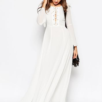 Glamorous Tall Bell Sleeve Lace Up Maxi Dress at asos.com