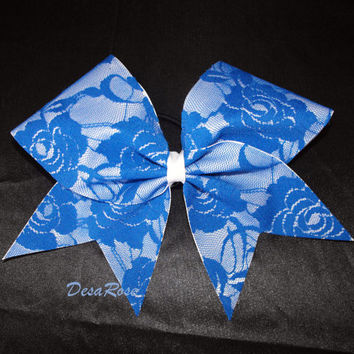 Lace Cheer/ Softball Hair Bow in Royal Blue & White