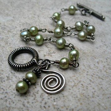 Green Pearl Bracelet Sterling Silver Jewelry Wire Wrapped