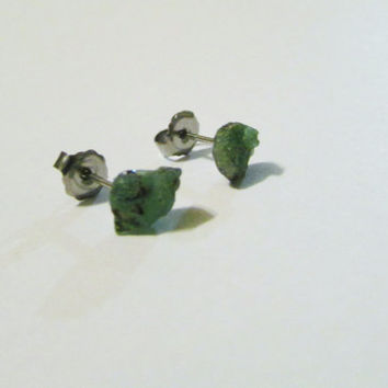 Genuine Emerald Natural Stone Studs |Tiny Post Earrings Green |Emerald Studs |Natural Gemstone |EG006 | May Birthstone | Green Studs For Her
