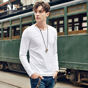 Stylish Simple Design Slim V-neck Long Sleeve T-shirts [7951305091]
