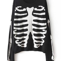 Casual Women's Round Neck Skull Print Long Sleeve Knitted Sweater