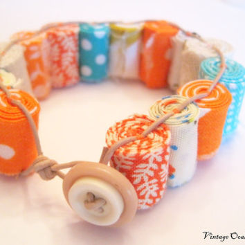 Fiber Beads Wrap Bracelet Vibrant Orange by VintageOoakDesigns