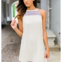 Halter cut A-line lace dress with embroidered detailing | Karli | escloset.com